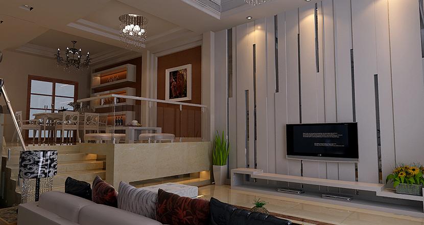 客厅背景以抽象的线条,结合灰色镜面,营造虚与实的对比,加强空间的